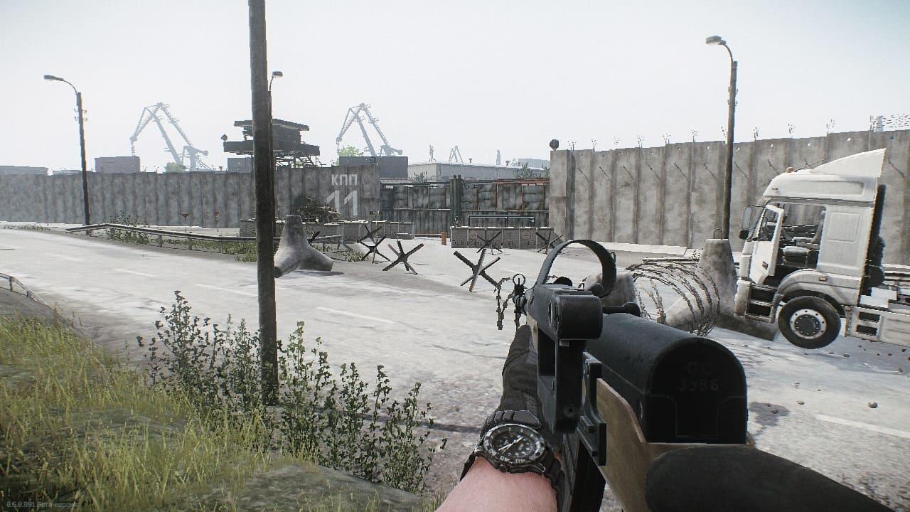 Escape from Tarkov выходы с локации Берег, Дальний выход у КПП